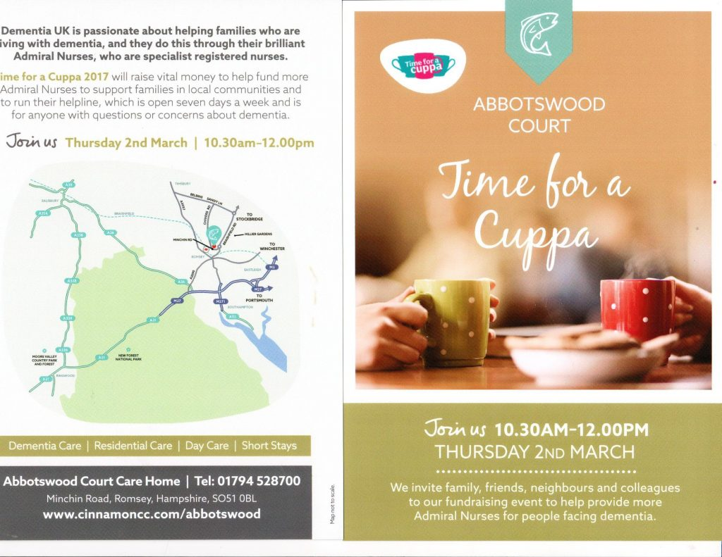 Time for a Cuppa 2017 Dementia UK Abbotswood Court
