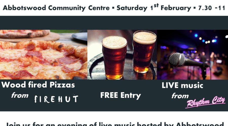 Abbotswood community association live music night poster